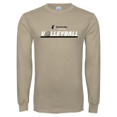 Khaki Gold Long Sleeve T Shirt-Wofford Terriers Volleyball w/ Volleyball