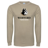 Khaki Gold Long Sleeve T Shirt-Wofford Terriers w/ Terrier