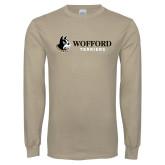 Khaki Gold Long Sleeve T Shirt-Wofford Terriers w/ Terrier Flat