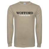 Khaki Gold Long Sleeve T Shirt-Wofford Terriers Word Mark