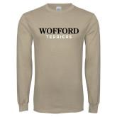 Khaki Gold Long Sleeve T Shirt-Wofford Terriers Word Mark