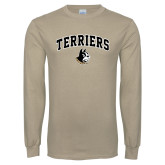 Khaki Gold Long Sleeve T Shirt-Terriers Arched w/ Terrier