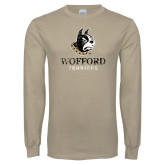 Khaki Gold Long Sleeve T Shirt-Wofford Terriers w/ Terrier Distressed