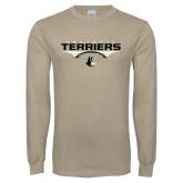 Khaki Gold Long Sleeve T Shirt-Terriers Football Flat w/ Football