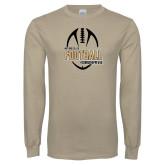 Khaki Gold Long Sleeve T Shirt-Wofford College Football w/ Football