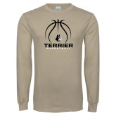 Khaki Gold Long Sleeve T Shirt-Terrier Basketball w/ Contour Lines