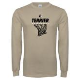 Khaki Gold Long Sleeve T Shirt-Terrier Basketball w/ Net