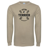 Khaki Gold Long Sleeve T Shirt-Wofford College Terrier Baseball w/Seams