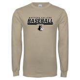 Khaki Gold Long Sleeve T Shirt-Wofford College Baseball Stencil w/Bar