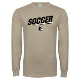 Khaki Gold Long Sleeve T Shirt-Wofford Soccer Slanted