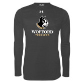 Under Armour Carbon Heather Long Sleeve Tech Tee-Wofford Terriers w/ Terrier