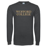 Charcoal Long Sleeve T Shirt-Wofford College Stacked