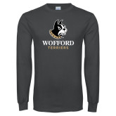 Charcoal Long Sleeve T Shirt-Wofford Terriers w/ Terrier