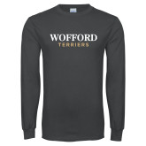 Charcoal Long Sleeve T Shirt-Wofford Terriers Word Mark