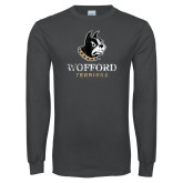 Charcoal Long Sleeve T Shirt-Wofford Terriers w/ Terrier Distressed