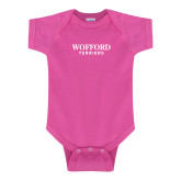 Fuchsia Infant Onesie-Wofford Terriers Word Mark