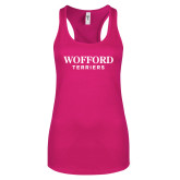 Next Level Ladies Raspberry Ideal Racerback Tank-Wofford Terriers Word Mark