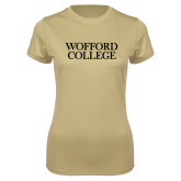 Ladies Syntrel Performance Vegas Gold Tee-Wofford College Stacked