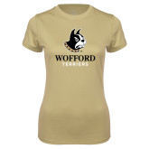 Ladies Syntrel Performance Vegas Gold Tee-Wofford Terriers w/ Terrier