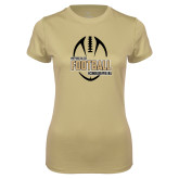 Ladies Syntrel Performance Vegas Gold Tee-Wofford College Football w/ Football