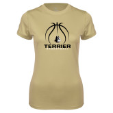 Ladies Syntrel Performance Vegas Gold Tee-Terrier Basketball w/ Contour Lines