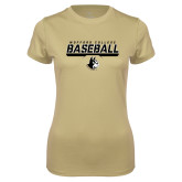 Ladies Syntrel Performance Vegas Gold Tee-Wofford College Baseball Stencil w/Bar