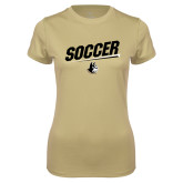 Ladies Syntrel Performance Vegas Gold Tee-Wofford Soccer Slanted