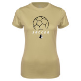 Ladies Syntrel Performance Vegas Gold Tee-Wofford Soccer Stacked