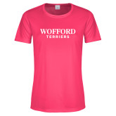 Ladies Performance Hot Pink Tee-Wofford Terriers Word Mark