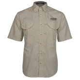 Khaki Short Sleeve Performance Fishing Shirt-Wofford College Stacked