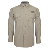 Khaki Long Sleeve Performance Fishing Shirt-Wofford College Stacked