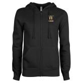 ENZA Ladies Black Fleece Full Zip Hoodie-W Wofford