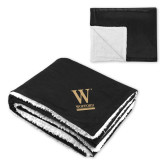 Super Soft Luxurious Black Sherpa Throw Blanket-W Wofford