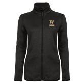 Black Heather Ladies Fleece Jacket-W Wofford