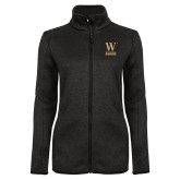 Black Heather Ladies Fleece Jacket-W Wofford