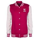 Ladies Pink Raspberry/White Fleece Letterman Jacket-W Wofford