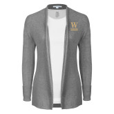 Ladies Heather Grey Open Front Cardigan-W Wofford