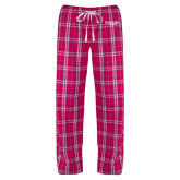 Ladies Dark Fuchsia/White Flannel Pajama Pant-Wofford Terriers Word Mark