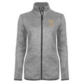 Grey Heather Ladies Fleece Jacket-W Wofford