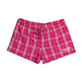 Ladies Dark Fuchsia/White Juniors Flannel Plaid Boxer-Wofford Terriers Word Mark