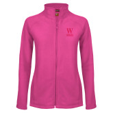 Ladies Fleece Full Zip Raspberry Jacket-W Wofford