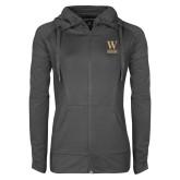 Ladies Sport Wick Stretch Full Zip Charcoal Jacket-W Wofford