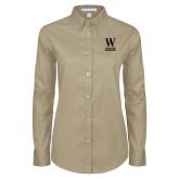 Ladies Khaki Twill Button Down Long Sleeve-W Wofford