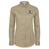 Ladies Khaki Twill Button Down Long Sleeve-Wofford Terriers w/ Terrier