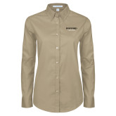 Ladies Khaki Twill Button Down Long Sleeve-Wofford Terriers Word Mark