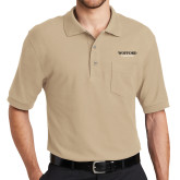 Stone Easycare Pique Polo w/ Pocket-Wofford Terriers Word Mark