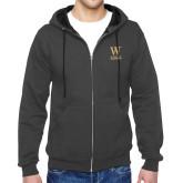 Charcoal Fleece Full Zip Hoodie-W Wofford