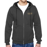 Charcoal Fleece Full Zip Hoodie-Wofford College Stacked