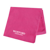 Pink Beach Towel-Wofford Terriers Word Mark