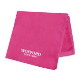 Pink Beach Towel-Wofford Terriers Word Mark